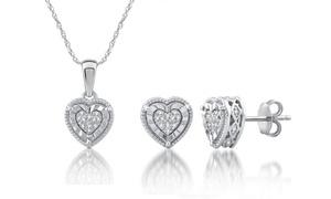 1/6 CTTW Diamond Heart Shaped Pendant Earring Set In Sterling Silver By DeCarat