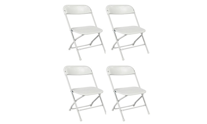 Pleasant White Plastic Folding Chairs Stack Able Portable Wedding Party Set 4 Evergreenethics Interior Chair Design Evergreenethicsorg