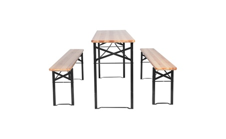 3 PCS Beer Table Bench Set Folding Wooden Top Picnic Table 6c7eca94-9ca5-4086-8d10-38499fec1325