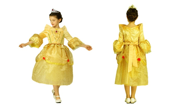 Princess Belle Yellow Deluxe Girls Costume Dress with Cosplay Accessories 3-10