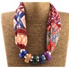 Printed Silk Scarf Resin Beads Necklace for Women