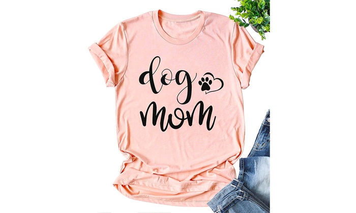 JINTING Funny Cute Dog Mom Tee Shirts for Women with Sayings Short Sleeve