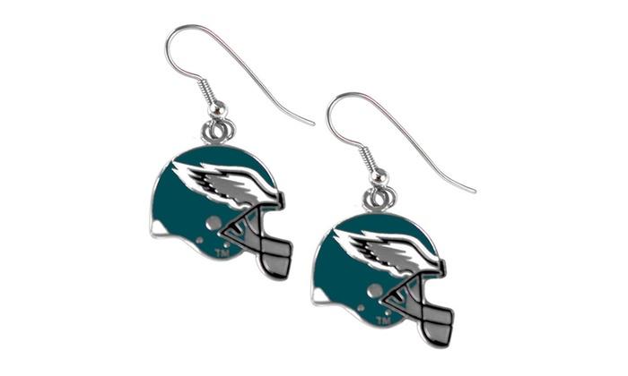 Philadelphia Eagles NFL Helmet Shaped J-Hook Silver Tone Earring Set