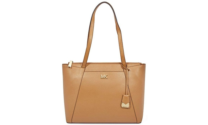 ab5152085343 Michael Kors Maddie Medium Crossgrain Leather Tote - Brown ...