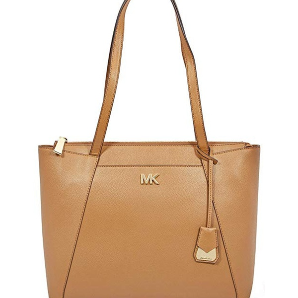 8a5165412566 Michael Kors Maddie Medium Crossgrain Leather Tote - Brown - 30S8GN2T2L-203  | Groupon