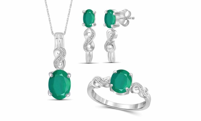 4937d3719 JewelonFire 3.30 CTW Genuine Emerald & Accent Diamond SS 3-Piece Jewelry Set