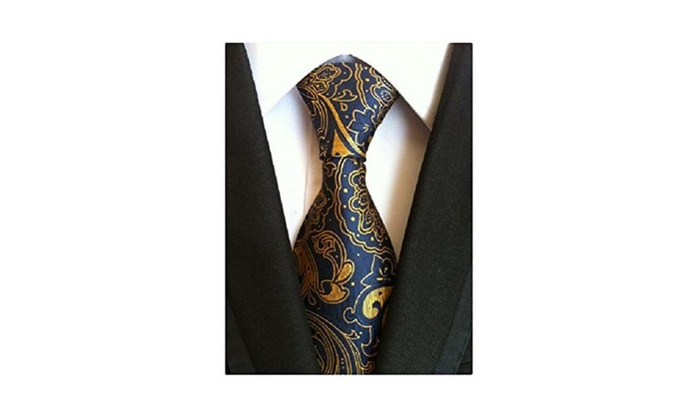 MINDENG Gold Blue Mens Floral Paisley Ties Silk Jacquard Woven Suits Tie Necktie - Blue and Grey / O...