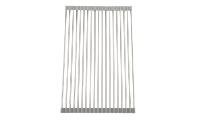 chiclive: Grey Kitchen Folding Small Mat Over the Sink Roll Up Drying Rack - Grey