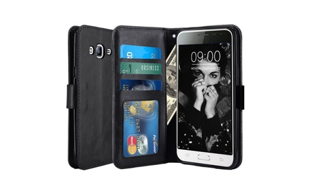 Luxury Genuine Real Leather Flip Case Wallet Cover Samsung Galaxy J3