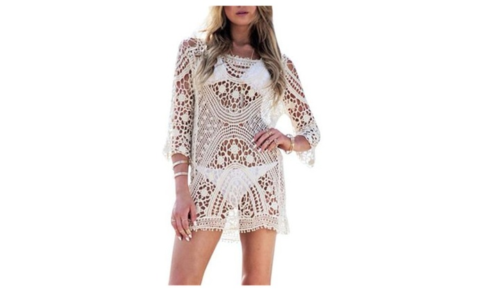 Women's Lace Crochet Bikini Swimsuit Cover up Tunic Beachwear Blouse