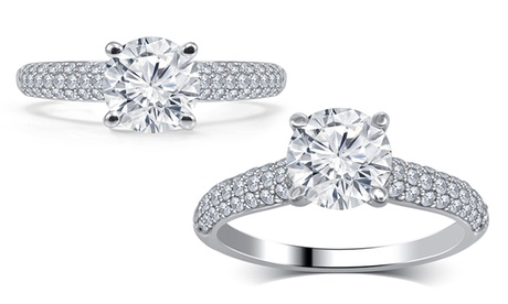 1.25 -1.50 CT Round-cut Diamond Engagement Ring 14K White Gold Jewelry for Women