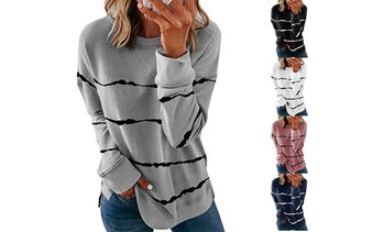 Women's Striped Printed Round Neck Sweatshirts Loose Long Sleeve Shirts Tops