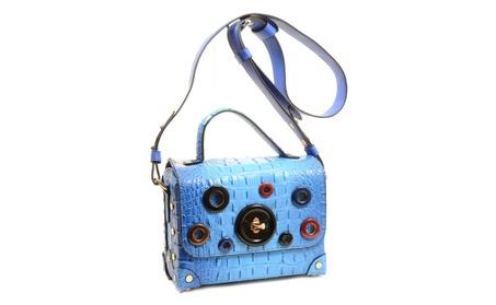 Blue Mock Croc Grommet Vegan Leather Retro Inspired Crossbody Purse (Goods Women's Fashion Accessories Handbags Cross-Body) photo