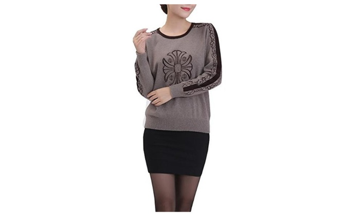 METERDE Women's New Design Embellished Long Sleeve Cashmere Sweater Jumper
