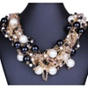 Multilayer Imitation Pearls Crystal Statement Necklace