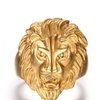 Men Gold Plated Lion Ring Vintage Animal Ring Punk Jewelry