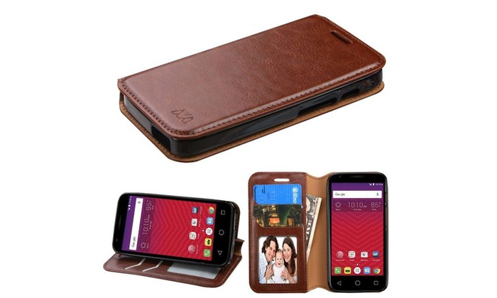Groupon Goods: Wallet Leather Skin Accessory Cover Case For Alcatel Dawn /Alcatel Acquire