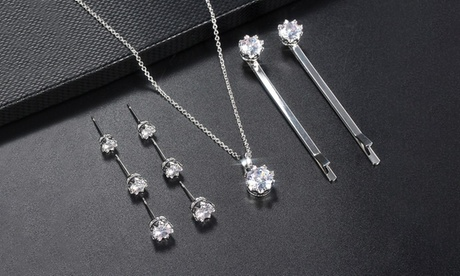 Leo Rosi 9 pcs Clear Crystals Jewelry Set Necklace & Earrings & hair pin