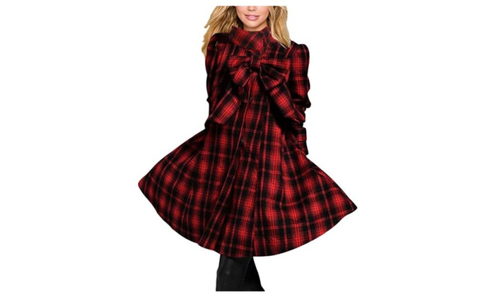 Women's Casual Long Sleeve Breathable Checkers Wool Coat