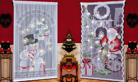 Christmas Lace Curtains Santa Claus Curtains Panel Bedroom Living Room Decor