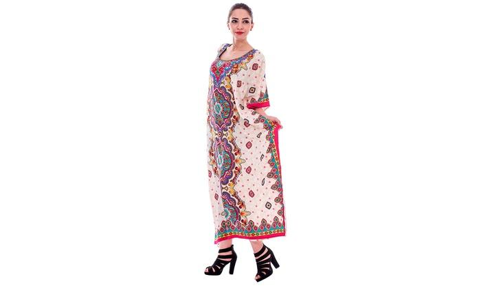 New Winlar Womens Caftan kaftan dress Tunic Knee High One Size //