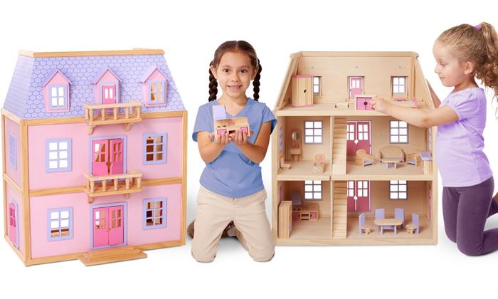 Melissa Doug Multi Level Solid Wood Dollhouse Groupon