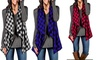 Women's Autumn Casual Open Jacket V neck Plaid Tops Vest Outwear