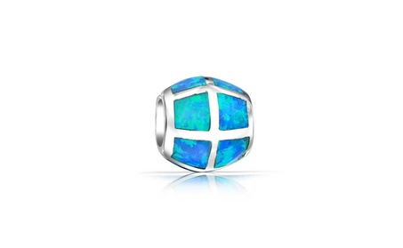 Bling Jewelry Sterling Silver Synthetic Blue Opal Inlay Barrel Bead d8220c53-869b-44ca-a0c2-188005d066a4