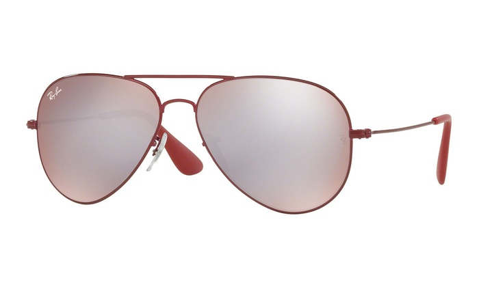 22860c88c Ray-Ban RB3558 Aviator Sunglasses (Bourdoux Red/Pink-Silver Mirror ...