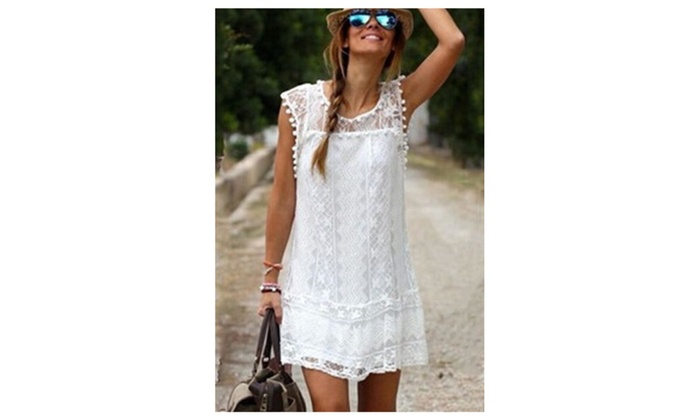 Women Lace Embroided Sleeveless Round Neck Dress – KMWD391