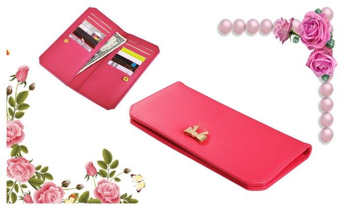 Fashionable Leather Bowknot Long Card Holder For Ladies