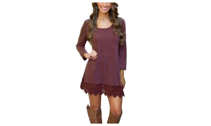 Women's Long Sleeve Tunic Lace Stitching Trim Casual A-line Dress