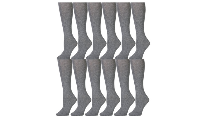 1f3c04b06216d 12 Pairs Girls Knee High Socks, Cotton, Flat Knit, School Socks ...