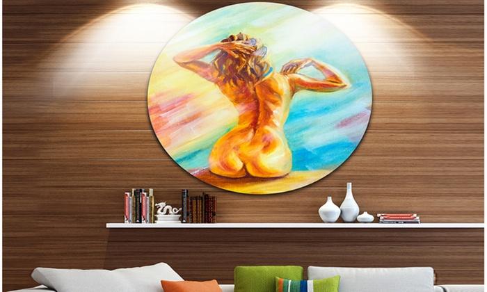 Naked Woman Sitting\' Sensual Circle Metal Wall Art | Groupon
