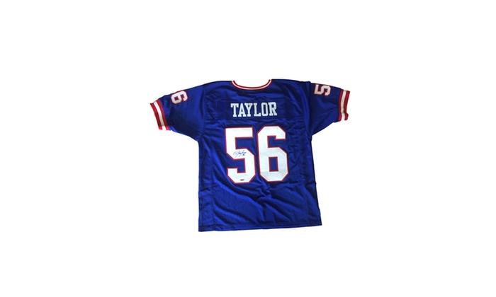 online retailer ea7ec 4020d Lawrence Taylor Autographed Blue Custom Jersey - New York Giants