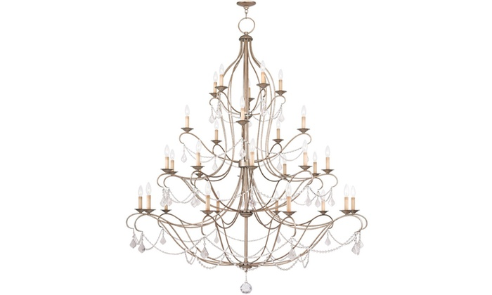 Chesterfield 30-Light Antique Silver Leaf Chandelier