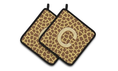 Carolines Treasures CJ1025-CPTHD Monogram Initial C Giraffe Pair of Pot Holders photo