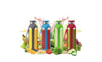 4 Pack Glass Water Bottle w/Protective Silicone Sleeve - 32 Oz