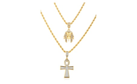 Men's Double Layered Necklace with Iced Out Pharoah & Ankh Pendants f3d90747-546d-4f72-a6a3-4c8b93da1fb2