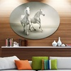 Fast Moving White Horses' Ultra Glossy Animal Oversized Metal Circle Wall Art
