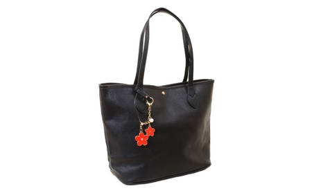 Womens Black Faux Leather Large Tote Bag Handbag Purse w/ Flower Charm (Goods Women's Fashion Accessories Handbags Totes) photo