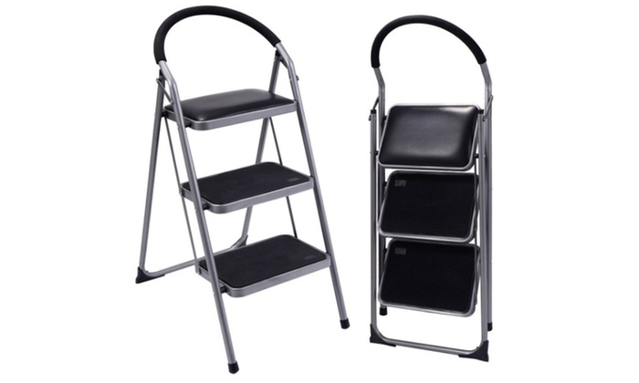 Non Slip 3 Step Ladder Lightweight Folding Stool Platform Heavy Duty  Industrial