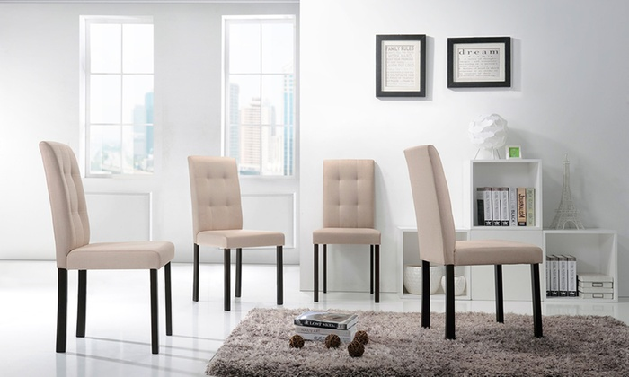 ... Contemporary Tufted Fabric Morgan Dining Chairs (Set Of 4) ...
