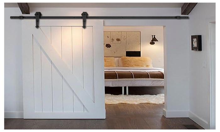 6 ft black modern antique style sliding barn wood door hardw