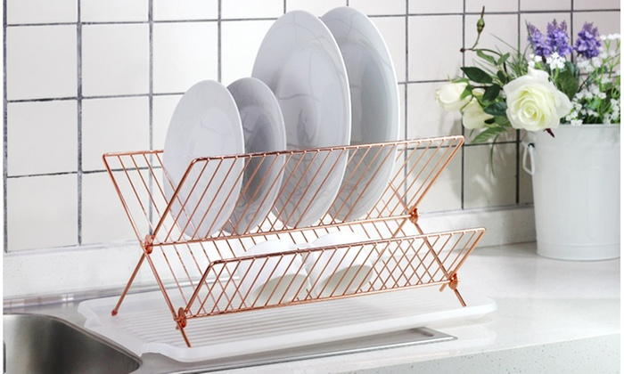 Copper Steel Foldable X Shape 2-tier Shelf Small Dish Drainers with Drainboard