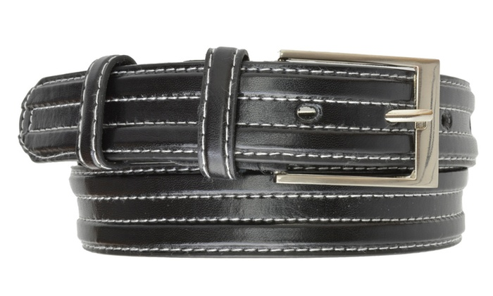 AFONiE Men's Contrast-Stitching Jean Leather Belt with Buckle