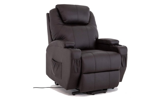 Black Power Lift Chair Leather Recliner Armchair Wall Hugger Lounge Seat