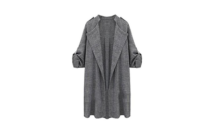 Aoibox Women's Plus Size Long Sleeve Trench Coat Jacket - Grey / XXX-Large