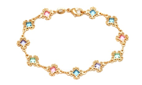 18K Gold Plated Multi Color Crystals Swirl Diamond Anklet