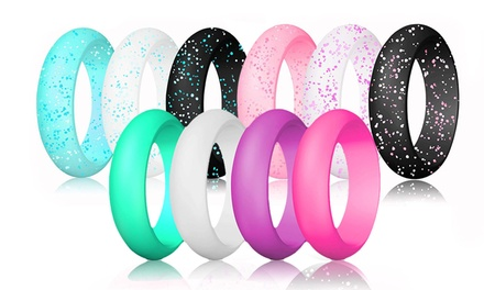 ATEANO Rubber Wedding Ring for Women Multi-Color Flexible Silicone Band Rings 10-Pack